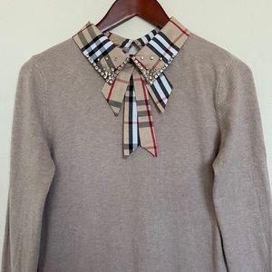 PLAID knit sweater jewels tan beige bow
